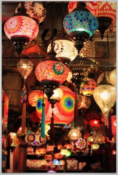 Turkish glass mosaic lamps ... i should have bought 1000 of these when i lived there ... they're so beautiful!