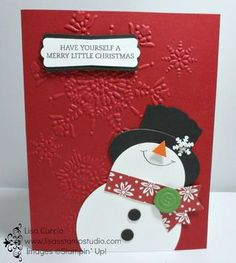 "Create this adorable snowman from punches Stampin' Up!, Christmas, holiday, 12""x12"", Metro Alphabet, Skinny Mini Alphabet, punch, card, paper, scrapbook, craft, rubber, stamps, www.lisasstampstudio.com"