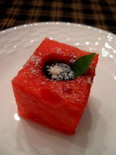 Watermelon with Blackberry-Balsamic Syrup, Petit Basil, Grana Padano