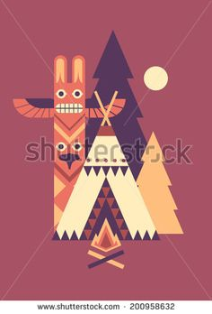 Indian wigwam, totem and fir trees. Simple vector geometry graphic.