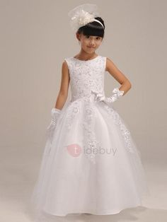 TideBuy - TideBuy Cute Sleeveless Zipper-Up Floor-Length Bowknot Flower Girl Dress - AdoreWe.com