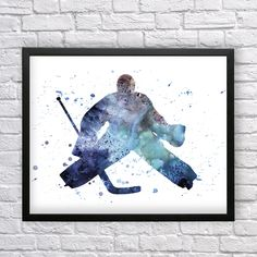 Goalie watercolor art, Hockey player printable art, Hockey poster, Goalie silhouette, Boys wall decor, Ice Hockey, Instant download by Recyman on Etsy