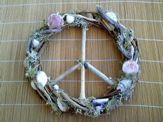driftwood peace wreath with shells