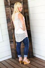 Pretty in Pink Crochet Back Tank just $24 www.katyloo.com