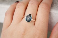 London Blue Topaz Ring  Sterling Silver  Teardrop  by OhKuol, $63.00