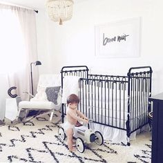 sweet nursery colors that aren't pastel. Black and white nursery.