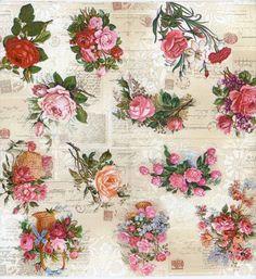 Decoupage Napkins | Baskets of Roses | Floral Napkins | Rose Napkins | Party Napkins | Paper Napkins for Decoupage