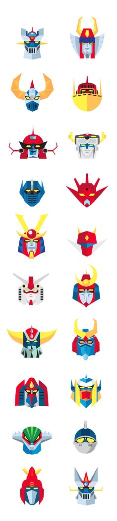 Again for Oscar party style - the bright colours and texture: Old School Japanese ROBOTS by danilo agutoli, via Behance