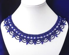 Cobalt blue seed bead necklace with glass crystals Lace beaded collar Beadwork handmade statement necklace Beadwork necklace Gift for women by GerdanEtnoStyle on Etsy Handmade Statement Necklace, Lace Necklace, Seed Bead Necklace, Seed Bead Jewelry, Seed Beads, Beaded Jewelry, Beaded Bracelets, Diy Jewelry, Necklaces