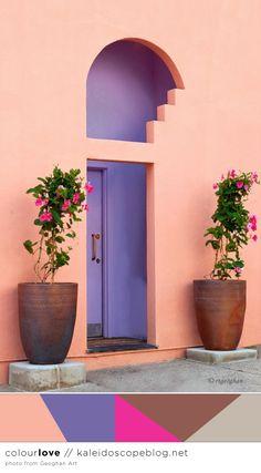 Colour Love // 67 - colour, color, palette, pink, peach, purple, brown, bronze, grey, gray, door way, colour blocking, color blocking, Mediterranean - Kaleidoscope Blog