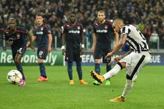 Juventus 3 Olympiakos 2 in Nov 2014 at Juventus Arena. Arturo Vidal missed a penalty in this Champions League, Group A clash.