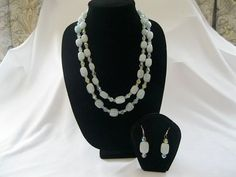 Aquamarine gem stone necklace strung with Crystals by MDJewelCraft, $60.00