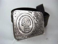 Skull Belt Buckle  Etched Stainless Steel  by RhythmicMetal, $60.00