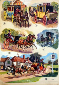 A five image board showing horse drawn carriages from the 17th to the 19th Century, by Derek Eyles for The Pony Book.