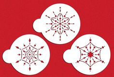 """Our Price: $15.00    Quantity: More Less  Description  This large jeweled snowflake stencil set contains three snowflakes, each fitting within a 5.5"""" circle. Stencils are 10 mil food grade plastic."""