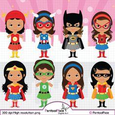 Afrikaanse Amerikaan, superheld meisjes clipart, Girl power clipart, Supergirls, Wonder woman, Cute superheld clipart, Super held meisjes clipart