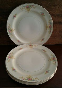 Homer Laughlin Eggshell Nautilus Rochelle Dinner Plate Set of 4 #HomerLaughlin