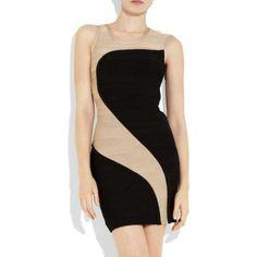 HERVE LEGER NUDE/BLACK TWO-TONE ASYMMETRIC BANDAGE STRETCH DRESS