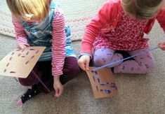 Make letter stitch cards out of cardboard. Good for fine motor and practical life skills.