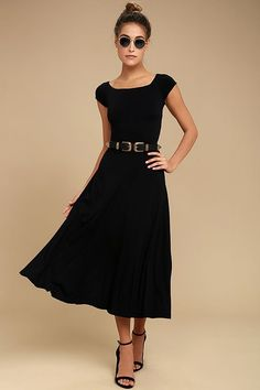 Trends come and go, but the A La Mode Black Midi Dress will always be in fashion! Stretch knit sweeps across a bateau neckline, cap sleeves, and a darted bodice with wide, crossing straps at back. Fitted waist drops to a flared midi skirt. Belt not included.