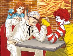 Fast Food Battle by Colonel Sanders is CEO Lee, apparently. Funny Text Messages Fails, Cute Couple Outfits, Colonel Sanders, Burger Places, Anime Fight, Cross Hatching, People Eating, Mindful Eating, Fan Art