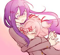 My DDLC related post in a while and nothing better than this ship 💜🧁 . Corpse Party, Yuri, Feeling Sad, Feeling Loved, Club 16, Literature Club, Have Some Fun, Cute Boys, Fan Art