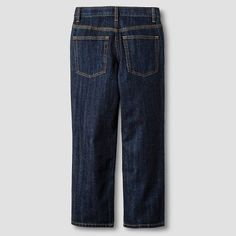 Boys' Relaxed Straight Fit Jean Cat & Jack Dark Wash 12 Slim, Blue, Durable