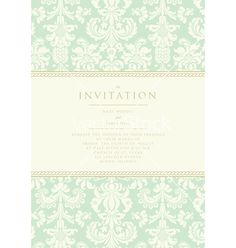 Damask invitation card vector on VectorStock®