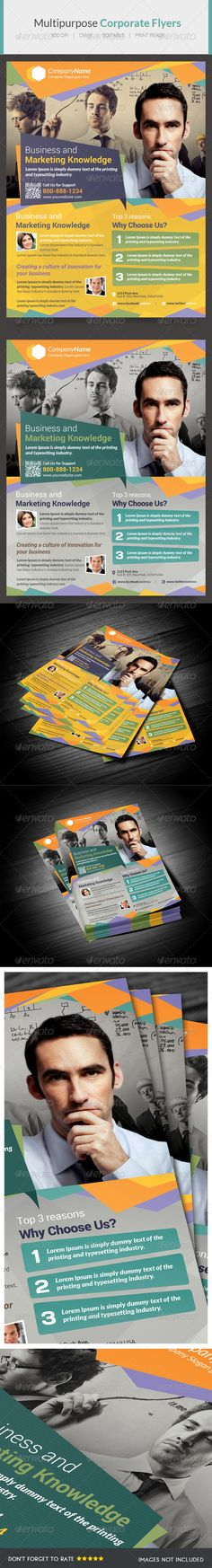 Multipurpose Flyer IX  #GraphicRiver         About this PSD Multipurpose flyer is to promote your service or product. Each PSD files are easy to edit, layered and fully organized. Wherever you need brochure to just edit and print without any knowledge on photoshop or design skills. This Zip includes  – PSD - Text Technical specs:  – Print size: 8.5×11 inches  – Bleed area: 0.25 inches - Color: CMYK /300 Dpi Fonts used: Trajan Pro – System Font Lato Roboto Days  Images not included  images…