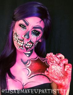 Valentine's Day pop art makeup Zombie!  By: lisabmakeupartistry