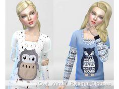The Sims Resource: Winter Owl Pyjama Set  by Pinkzombiecupcake ? Sims 4 Downloads