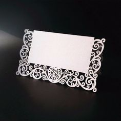 12 pcs/ Lot Chic Pearlescent Lace Name Place Cards Wedding Party Table Decor - Wedding Look