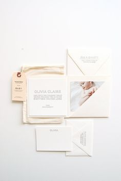 Olivia Baby Announcements & Stationery Set van inhauspress op Etsy, $425.00