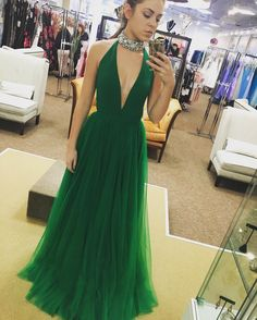 149 USD.Deep V neck Prom Dresses 2017 Long Green Tulle Graduation Dresses Sexy A-line Party Evening Formal Gowns for Teens