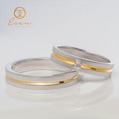 Verighete din aur alb si galben cu diamant ES49