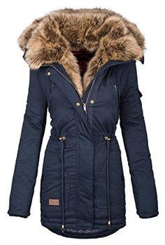 Navahoo warme Damen Winter Jacke Parka lang Mantel Winterjacke Fell Kragen  B380  B380-Navy b391e74744
