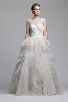 Illusion Neckline Wedding Dresses from Camille Garcia RTW Bridal Gowns, Wedding Gowns, Illusion Neckline Wedding Dress, Full Skirts, Silk Satin, One Shoulder Wedding Dress, Ball Gowns, Tulle, Feminine