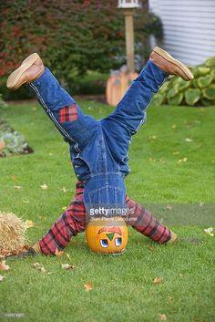 Stock Photo : Pumpkin headed scarecrow