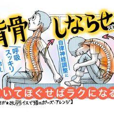 腰痛予防から背中のコリ緩和に「背骨しならせストレッチ... Healthy Habits, Health Fitness, Workout, Comics, Stretching, Exercises, Knowledge, Notes, Beauty