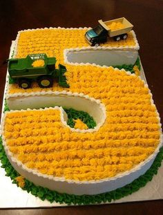 Great birthday cake for a farm kid!  Create farm rows with tractor.  Maybe chickens.