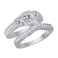 2 Ct Princess Cut Engagement Bridal Ring Set Three-Stone Solid 10K White Gold