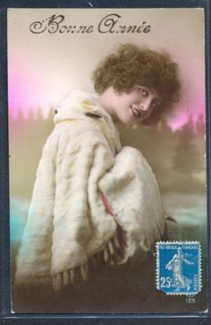 QC052-ART-DECO-HIGH-FASHION-LADY-FUR-COAT-MUFF-FRENCH-Tinted-PHOTO-pc