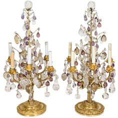 Pair of Superb Antique Louis XVI Style Bagues Gilt Bronze and Rock Crystal Lamps   From a unique collection of antique and modern table lamps at https://www.1stdibs.com/furniture/lighting/table-lamps/