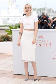 Kristin Stewart in Chanel with Christian Louboutin heels at the photocall for Café Society at the 69th annual Cannes Film Festival 2016: What Everyone Wore on the Red Carpet - Cannes Film Festival 2016: What Everyone Wore-Wmag