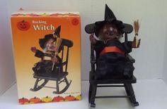 Halloween Animated Rocking Witch with Flashing Eyes and Eerie Sounds