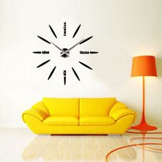 3D DIY Modern Mute Mirror Wall Clock Wall Sticker Home Decoration