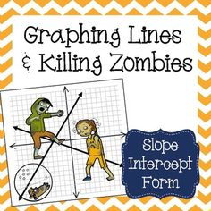 This zombie themed graphing activity will strengthen your students skills in graphing lines in point slope form.Students are given a graph with 12 zombies on it and 12 equations. Students will cut out each equation and graph the line on the zombie graph. Math 8, Maths Algebra, 7th Grade Math, Math Teacher, Math Classroom, Teaching Math, Math College, Graphing Activities, Math Worksheets