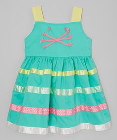Look at this Poco & Picotine Green & Yellow Cat Stripe Dress - Infant, Toddler & Girls on #zulily today!