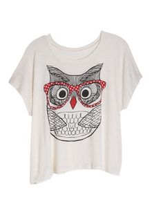 dELiAs Owl with Glasses Tee tops graphic tees view all graphic tees - StyleSays Graphic Shirts, Printed Shirts, Owl Graphic, Graphic Design, Owl Clothes, Owl Shirt, Find Girls, Fashion Moda, Cute Shirts