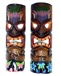 2 Brown Tiki Masks with Headdress Wearing Tropical Board Shorts *** Click image to review more details.